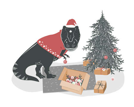 Cute yound T rex dinosaur decorating Christmas tree. Tyrannosaurus Xmas. Winter festive print, vector illustration