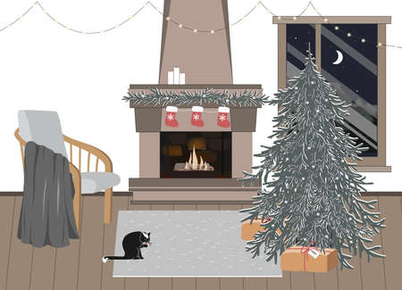 New Year celebration interior, vector illustration. Empty Christmas room with festive atmosphere. Home coziness, Scandinavian Xmas, winter holidays hygge. Christmas tree and fireplace