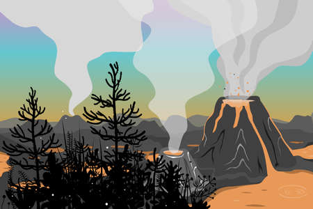 Prehistoric landscape with jurassic flora and volcano eruption, lava and smoky sky. Vector background with mountains and volcanoes in flat cartoon style Illustration