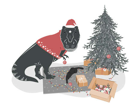 Cute T rex dinosaur with a playing cat decorating Christmas tree. Tyrannosaurus Xmas home. Winter festive print, vector illustration