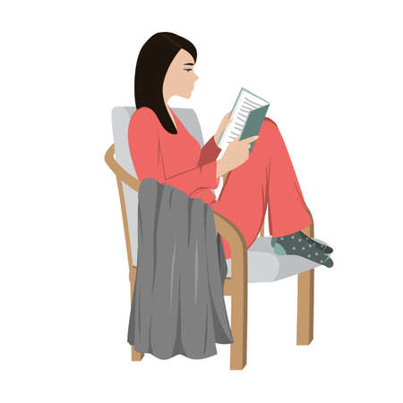 Young woman reading a book and sitting on comfortable chair at home. Vector illustration