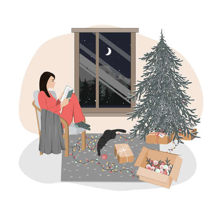 A cute relaxed girl sitting in a chair and reading. Hygge xmas mood, Christmas interior vector illustration Illustration