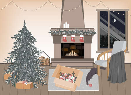New Year preparation interior, vector illustration. Empty Christmas room with festive atmosphere. Home coziness, Scandinavian Xmas, winter holidays hygge. Christmas tree and fireplace Ilustração