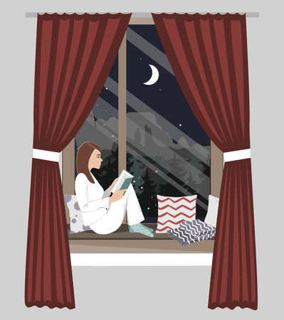 Woman sitting by the night window and reading book. Vector illustration. Winter snowing landscape outside
