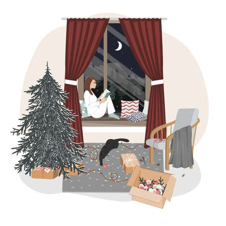 A cute relaxed girl sitting on a windowsill and reading. Hygge xmas mood with new year tree, playing cat, and winter window landscape. Christmas interior vector illustration