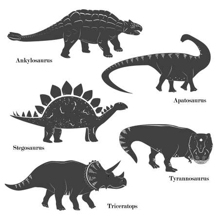Cute vector of young dinosaurs isolated on white background. Triceratops, Apatosaurus, Tyrannosaurus, Stegosaurus, and Ankylosaurus Set Illustration