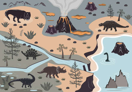 Cartoon kids playmat with dinosaur, palm, and volcano mountains. Vector illustration, floor carpet or wall poster. Dino background for the children room Illustration