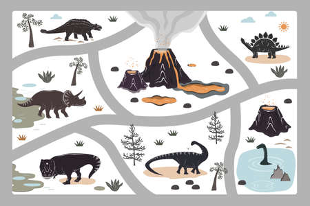 Cartoon kids road playmat with dinosaur, palm, and volcano mountains. Vector illustration, floor carpet or wall poster. Dino background for the children room Illustration
