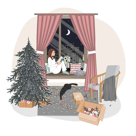 A cute relaxed girl sitting on a windowsill and reading. Hygge xmas mood with new year tree, playing cat, and winter window landscape. Christmas interior vector illustration or greeting card Illustration