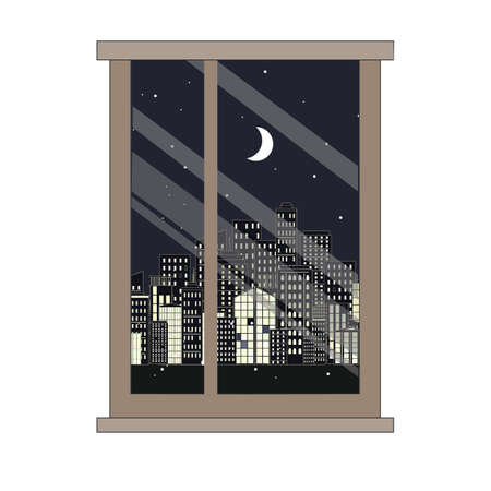 Window and night city view. Flat style vector illustration.