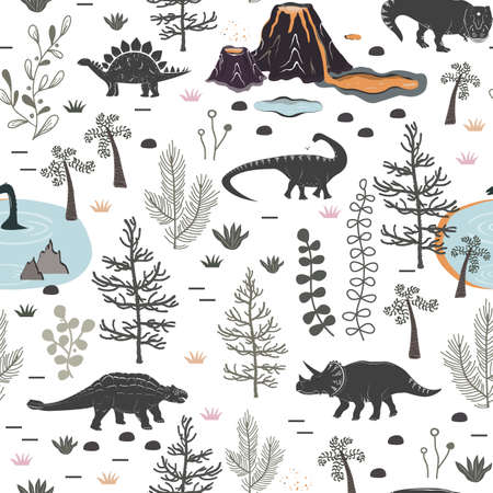 Vector seamless pattern with cute different dinosaurs, plants and volcano. Cartoon landscape of Jurassic period with dino. Pastel texture for kids wallpaper, fabrics and different surfaces Illustration