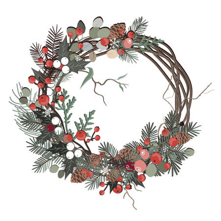 Greeting card with a Christmas festive floral wreath. Vector illustration
