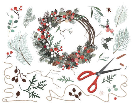 Nature components Christmas wreath made of natural eco decorations. Vector illustration. Making of Xmas decoration