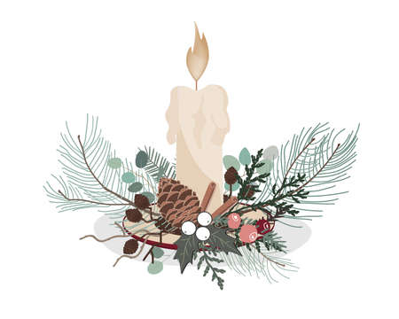 Christmas decoration with fir branches, candle, cones and berries. Vector illustration