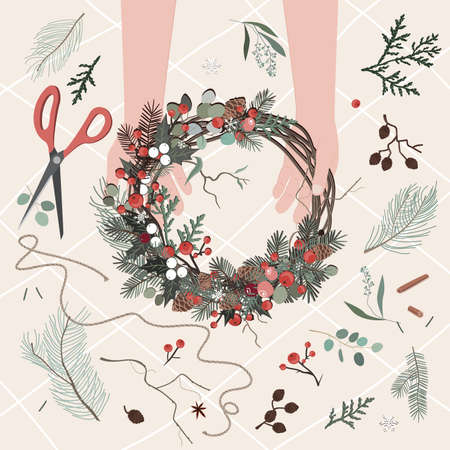 Top view of florist hands making Christmas wreath with fir branches and decorative floral branches and berries. Vector illustration