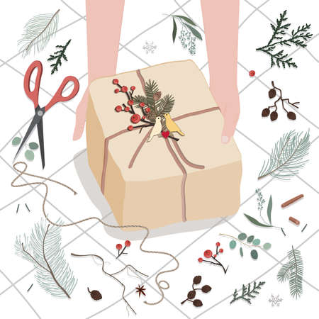 Human hands decorating gift box or parcel wrapped into brown mail paper with fir brunch and birds couple badge. Vector illustration for Christmas, holidays, presents, new year and people concept
