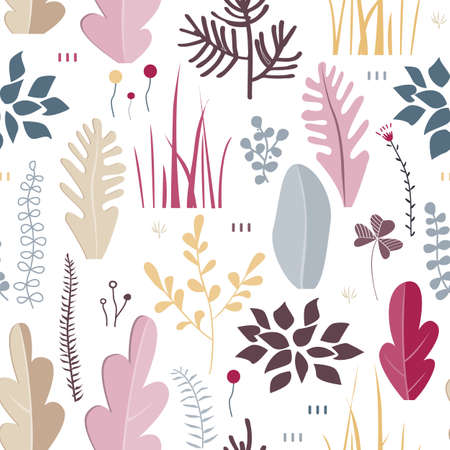 Vector seamless pattern, floral doodling design. Hand draw flowers and leafs. Black and white doodle background