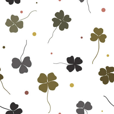 Vector clover seamless vector pattern. Shamrock doodle hand draw leaves for St Patrick day Illustration