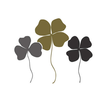 Clovers with four and three leaves bouquet. Shamrock  sign icon. Saint Patrick symbol, stylish and simple design. Vector Flat design set Illustration