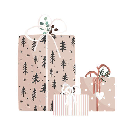 Christmas and New Year hand drawn gifts on white background. Set of cute giftboxes. Vector illustration. Collection of xmas or birthday presents Illustration