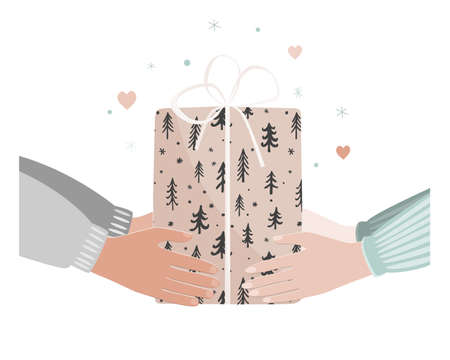 Doodle illustration of man and woman hands giving Christmas present. Xmas time concept Illustration