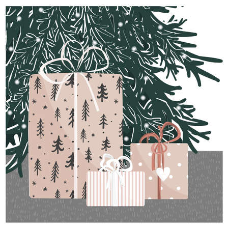Hand drawn gift boxes under the Christmas tree. New Year home background with cute giftboxes. Vector illustration. Collection of xmas or birthday presents. Happy holidays