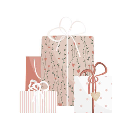 Valentine day gift boxes set. Wrapped packages decorated with ribbon bows, plants and wooden heart, isolated on white background. Vector illustration