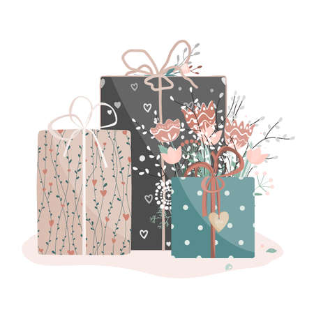 Valentine day gift boxes set with flowers. Wrapped packages decorated with ribbon bows, plants and wooden heart, isolated on white background. Vector illustration Illustration