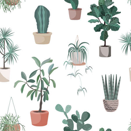 House indoor plant vector cartoon doodle seamless pattern. Potted flowers background Illustration
