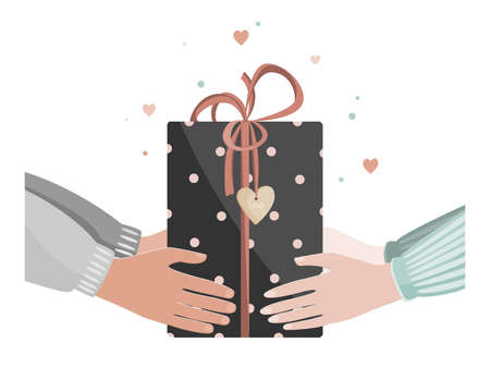 Doodle illustration of man and woman hands giving Valentine day present. Man giving gift box to a woman. Vector illustration Illustration
