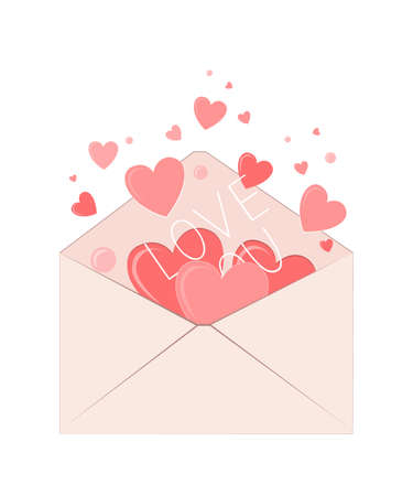Valentines Envelope with Hearts. Love symbol vector illustration. Mail or Letter concept for Mother and Women Day Greetings