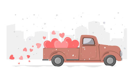 Snowy winter day city background and retro pickup truck with hearts. Card for a Saint Valentine Day. Vector illustration Ilustração