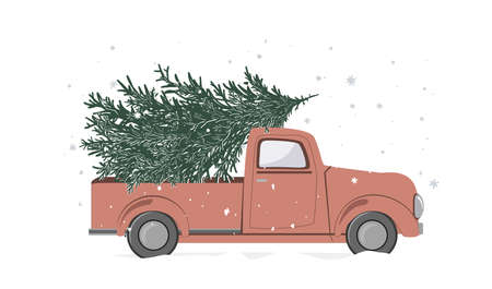 Christmas red retro truck with a Christmas tree on a white background. Vintage pickup truck with a fir tree, vector illustration