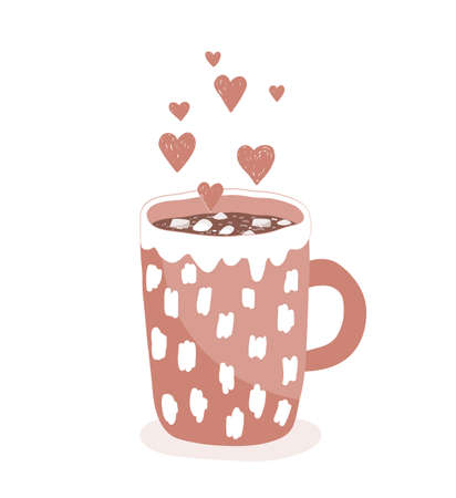 A cup of hot cocoa with marshmallows on a white background. Concept of love and hygge. Hand drawing vector illustration. Cocoa mug icon