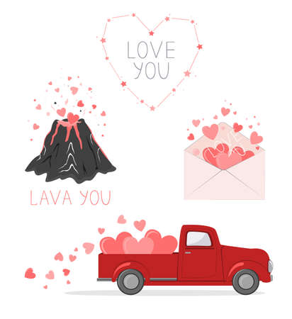 Set of cute pictures for Valentine Day. Red pickup truck with hearts, love envelope, volcano lover, and hearts constellation. Cards for a Saint Valentine Day. Vector illustration