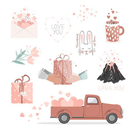 Set of cute pictures for Valentine Day. Red pickup truck with hearts, gifts, flowers, love envelope, volcano lover, and hearts constellation. Cards for a Saint Valentine Day. Vector collection