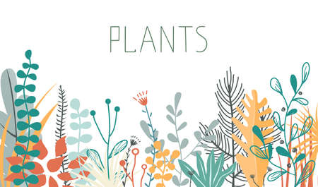 Vector illustration in trendy flat and linear style - background with copy space for text - plants and leaves