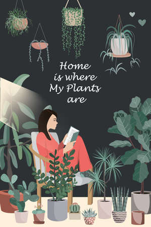 Young woman reading book on a chair in a room full of potted plants. Home is where my plants are text. Flat style vector illustration on dark background