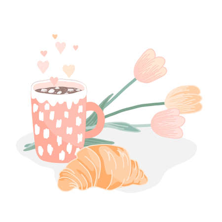 Tasty croissant, hot cocoa or chocolate drink and a bouquet of tulips. Vector illustration, good morning concept or greeting card Ilustração