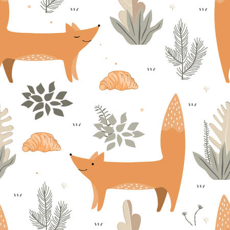 Vector seamless pattern with cute foxes, plants, and croissants. Cozy repeated texture with forest. Childish print for kids fabric and wrapping paper. Scandinavian style