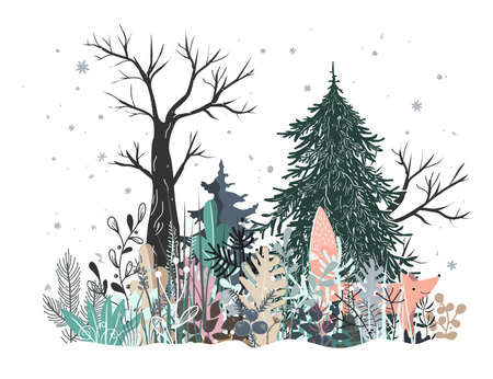 Winter Forest Landscape with curious fox, Pine, Fir tree, and grass. Vector illustration