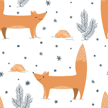 Cute foxes, winter forest, and croissants. Cozy repeated texture, childish print for kids fabric and wrapping paper. Vector seamless pattern with wild forest animal, Xmas illustration Ilustração