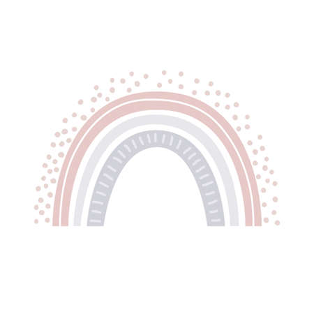 Rainbow vector in cartoon Scandinavian style isolated on white background for kids. Cute hand drawn illustration for posters, prints, cards, fabric, children books, interior design Ilustração