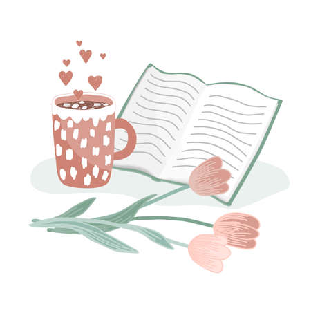 A cup of hot cocoa with marshmallow, open book, and tulips. Concept of love, hygge, and happy morning. Hand drawing vector illustration Ilustração