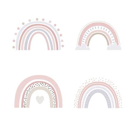 Abstract rainbows hand drawn set. Color Scandinavian bows decorative doodles, vector illustration Ilustração