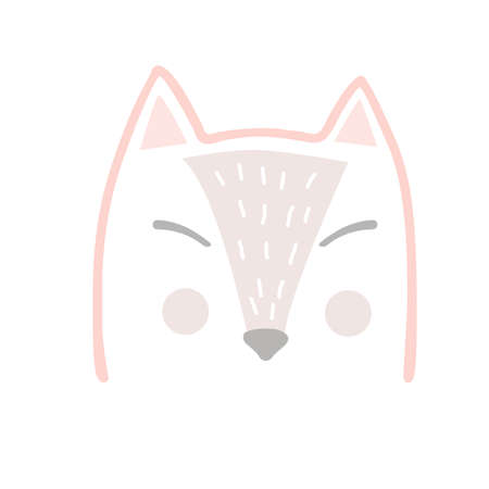 Cute fox head in Scandinavian cartoon style, kids graphic. Vector hand drawn illustration isolated on white