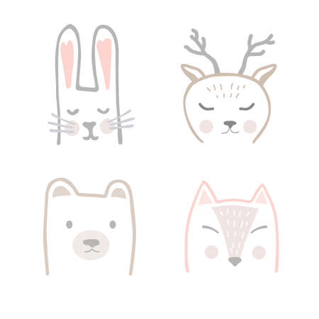 Set of forest animals in hand drawn Scandinavian style. Cartoon vector illustration depicting a Fox, Hare, Deer, and Bear for printing on fabric, postcard, dishes, clothes, book. Cute baby background