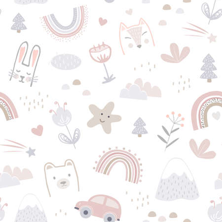 Seamless pattern with cute animals faces and childhood symbols. Childish print for nursery in a Scandinavian style for baby clothes, interior, packaging. Vector cartoon illustration in pastel colors