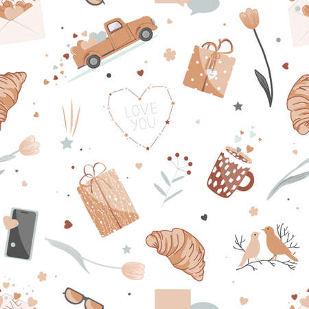 Cute Valentine Day seamless pattern with love signs and symbols. Red pickup truck with hearts, gifts, flowers, open envelope, croissants, birds couple, and hearts constellation. Vector illustration