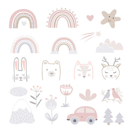 Set of cartoon childhood symbols and icons. Animals heads, flowers, car, stars, and landscape elements for nursery. Scandinavian style vector templates for baby clothes, interior, packaging